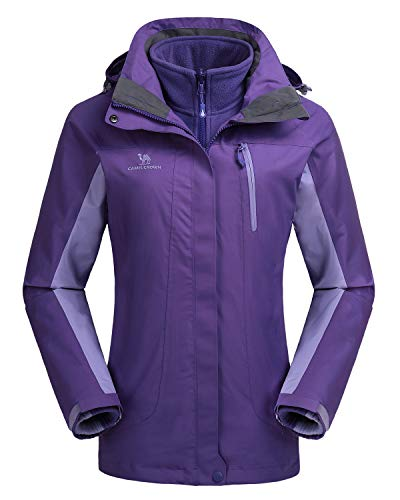 CAMEL CROWN Damen Outdoor 3-in-1 Skijacke, Zweiteilige Winterjacke mit Fleecefutter, Winddicht, Wasserdicht und Hält Warm | 00742338938142