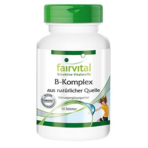 B-Komplex aus natürlicher Quelle (Hefe), vegan, ohne Magnesiumstearat, 8 natürliche B-Vitamine plus Cholin und Inositol, 60 Tabletten - für den Stoffwechsel, das Nervensystem und das Immunsystem