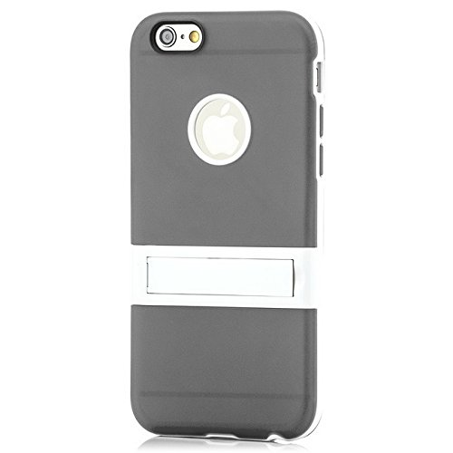 Saxonia Apple iPhone 6 / 6S Hülle Case Slim Silikon Schutzhülle Back Cover Silikonhülle mit Standfuß Gelb Grau