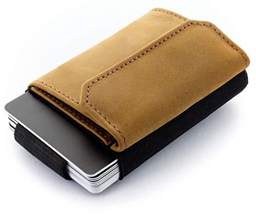 JAIMIE JACOBS Cartera Hombre Nano Boy Pocket Cartera Minimalista Slim Wallet Cartera Clip Cartera Pequeña Tarjetera Fina Pinza para Billetes Billetero para Hombres (Bronceado)