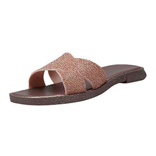 Damen Hausschuhe Sommerschuhe Strandschuhe Badeschuhe Outdoorschuhe Wasserdicht Frauen Mädchen Sommer Flip Flops Schuhe Flach Sandalen Slipper mit rutschfest Weiche Sohle (EU:39, Gold)