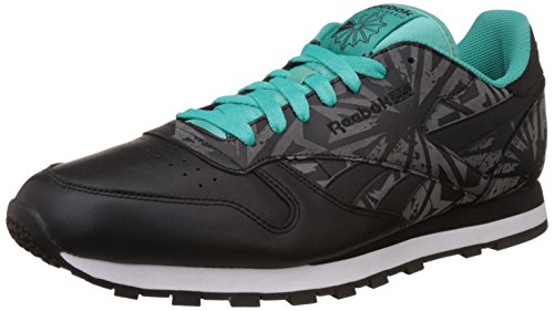 Reebok Classics Men's Cl Leather Reflect Black, White, Teal and Soft Black Running Shoes – 11 UK 41mNHiTB8LL