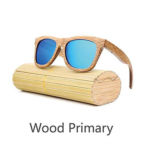 Preisvergleich Produktbild ANLW Retro-Männer Und Frauen Bambus Holz Sonnenbrille Holzmaserung Polarisierte Gläser Sonnenbrille, Blue
