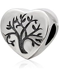 Abalorio con forma de corazón y árbol de vida, de plata de ley 925, para pulsera o collar de mujer