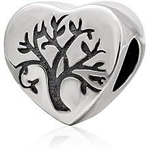 Árbol de la vida colgante con forma de corazón de plata de ley 925Love familia cuentas para las mujeres pulsera de abalorios collar