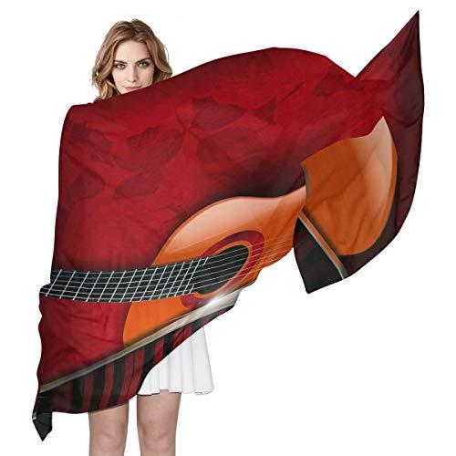 aus Seide, Vintage-Design, leicht, lang, weich, Chiffon, Schal für Damen und Mädchen ()