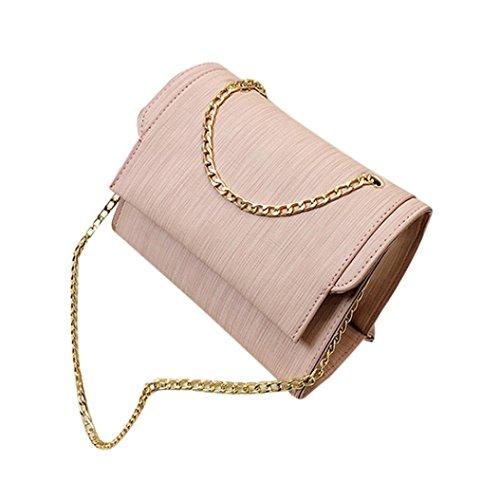 Kangrunmy borse tracolla donna moda in pelle catene borsa crossbody spalla borse (rosa)