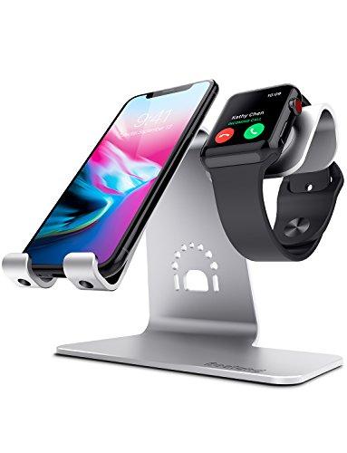 Bestand 2 in 1 supporto da tavolo in allumiio per smartphone e tablet & apple Watch. Base di ricarica per Apple iwatch/iPhone/iPad