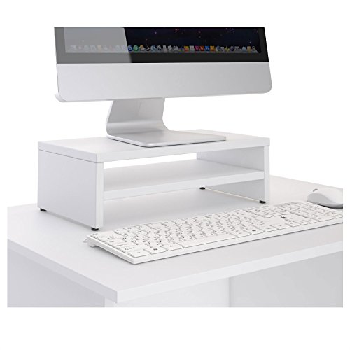 CARO-Möbel Monitorständer SUBIDA Bildschirmaufsatz Schreibtischaufsatz Bildschirmerhöhung mit Ablagefach, in weiß - 2