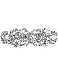 tenye CZ cristal austriaco boda Vintage inspirado pasador de cabello claro tono plateado