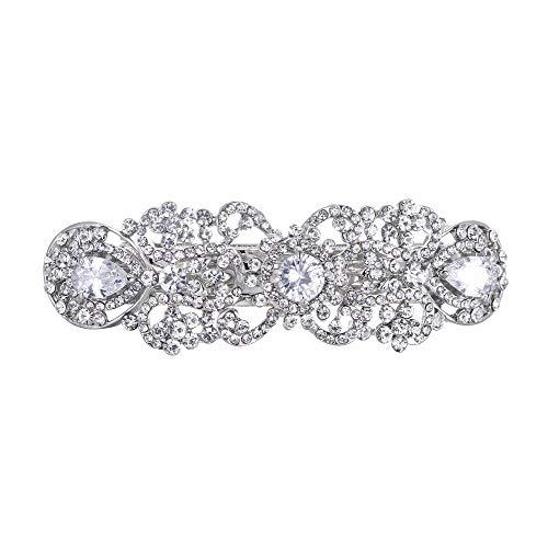 Ever Faith Damen CZ österreichischen Kristall Hochzeit Vintage inspiriert Haarspange Klar Silber-Ton