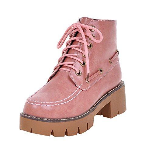 YE Damen Chunky Heels Ankle Boots Plateau Stiefeletten mit Schnürung und Blockabsatz Modern Bequem...