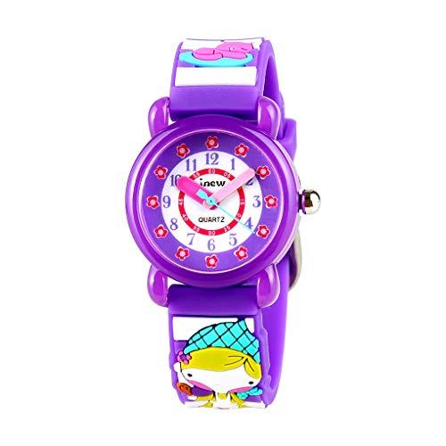 Kinder-Cartoon-Mädchen 3D-Muster-Entwurfs-Bügel-Uhr Kinder-Streifen-wasserdichte Quarz-Armbanduhr Wrist-Dekor -