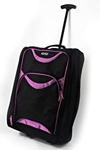 Lightweight Wheeled Hand Luggage Trolley Suitcase - Small Flight Cabin Bag Pink