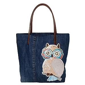 Damen Handtasche Shopper Handtasche Blau Groß Damen Tasche für Büro Schule Einkauf mit Kunstfell Eule Plüsch