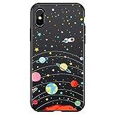 Freesiom Coque iPhone 6/6s Silicone Noir Motif Blanc Univers Space Couleur 3D Kawaii...