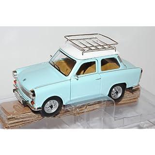 Trabant 601 S Deluxe Blau Weiss Mit Dachgepäckträger 1/24 Yatming Modell Auto mit individiuellem Wunschkennzeichen