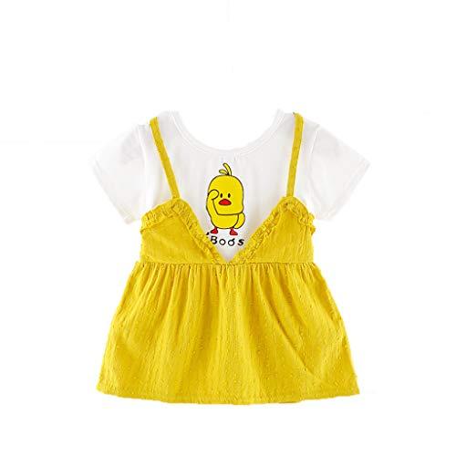 YWLINK Kleinkind MäDchen Overall Kleid Kurze ÄRmel Karikatur Kleine Gelbe Ente Gedruckt Party Prinzessin Süß Kurze ÄRmel Sommer Kleidung Anziehen(Gelb,12-18 ()