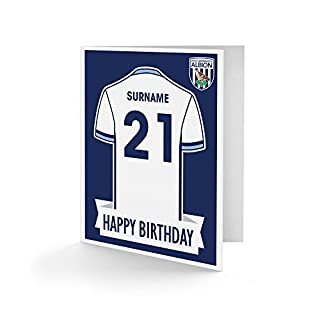 Official Personalised West Bromwich Albion FC Shirt Birthday Card - Free Personalisation