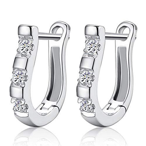 ESCYQ Damen Ohrringe Ohrstecker Ohrhänger Tropfen Ohrlinie 925 Sterling Silber Ohrringe Harfe Zirkon Bolzen Horse Shoe Ohrringe Für Frauen