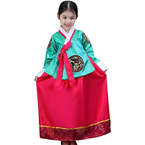Mädchen Kostüm Koreanisch - XFentech Koreanisches Mädchen Hanbok Kleid - Mädchen Klassisch Traditionell Hübsch Niedlich Bühnenshow Cosplay Kostüm, Grün, EU 90=Tag 100