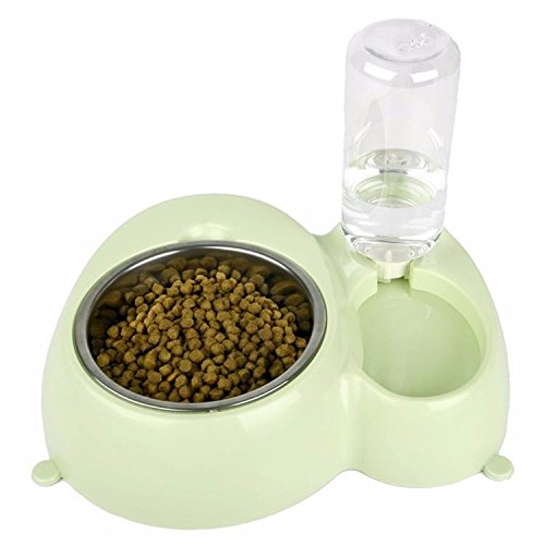ZPP-Doppia vasca in acciaio inox dog bowls cane ciotola acqua Articoli per animali CAT CAT CAT ciotola di riso bocce coppa dell'acqua food bowl, verde