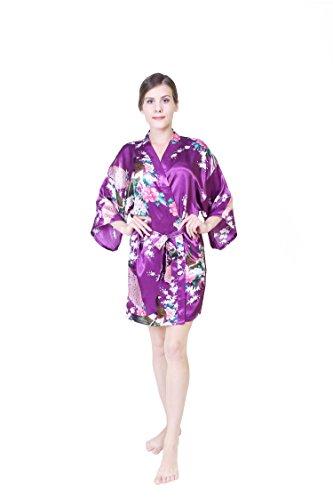 KEYNIS Damen Morgenmantel Satin Kimono Robe Bademantel Nachtwäsche mit Pfau und Blumen Kurze Dark Purple