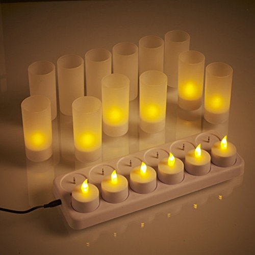 atcket (12 Pack) réaliste Bougies chauffe-plat LED Flameless rechargeables avec support F ¨ ¹ R mariage Home Party (pas besoin de piles)