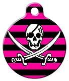 Dog Tag Art Pink und Pirat Schwarz–Custom Pet ID Tag für Hunde und Katzen, l