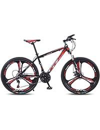 QJ Bicicleta De Montaña, 21 Velocidad con Amortiguador De Cambio De Carrera En Carretera De 24 Pulgadas Ligera Juvenil De Bicicletas,Rojo