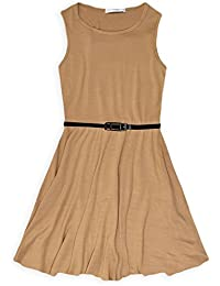 7aaa2ac529eb3 RSVH Girls Skater Kids Sleeveless Party Fit Flare Belted Summer Dress Ages  3-14 Years