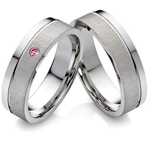 frencheis Eheringe Verlobungsringe aus Edelstahl mit Rodolite und Laser Gravur Z121