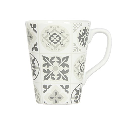 Novastyl 8017966 Lot de 6 Mugs Manoir Gris Capacite 40CL-8017966, Céramique, Gris Clair, 20 cm