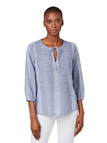 Langarm-dobby Stripe Shirt (TOM TAILOR Casual Damen Tunika Bluse, Blau (Dobby Stripe Chambray 18730), Herstellergröße: 36)