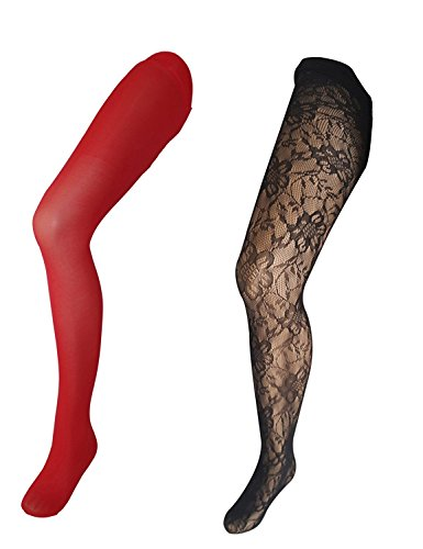 Betsey Johnson Women's 2 Pair Pack Designer and Solid Opaque Tights (2 Pack Solid Tights)