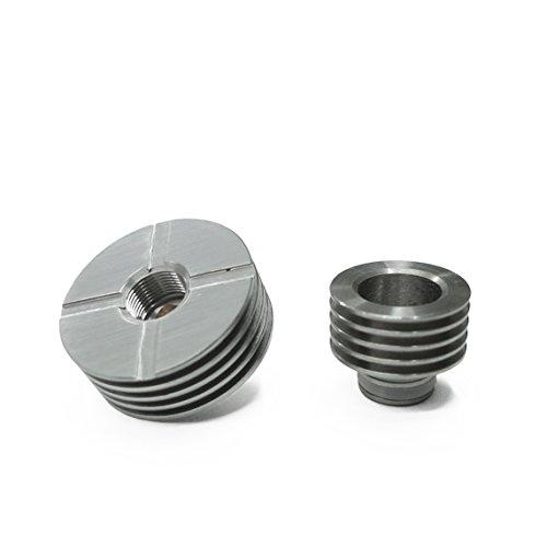 Drip Tip Heat Sink 14,8mm Ø + Heat Sink 22mm Ø in Silber; 510er Anschluss Edelstahl Heatsink Atomizer Adapter Tank Kühlkörper Kühlrippen (Akku-heat-tool)
