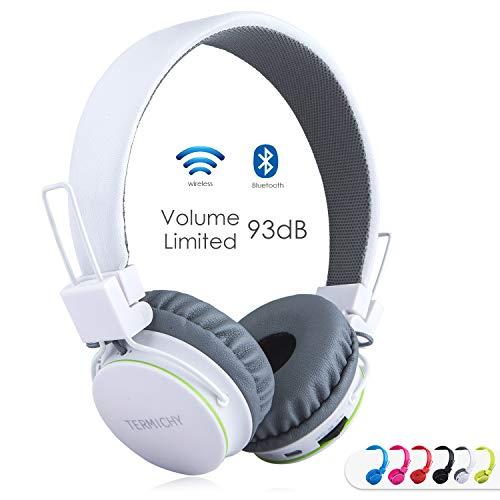 Cuffie Bluetooth Senza Fili per Bambini con Microfono + Controller Volume, Stereo Cuffie Auricolari Pieghevoli con condivisione Musica per Giochi Cellulari Smartphone Tablet PC da Termichy (Bianco)