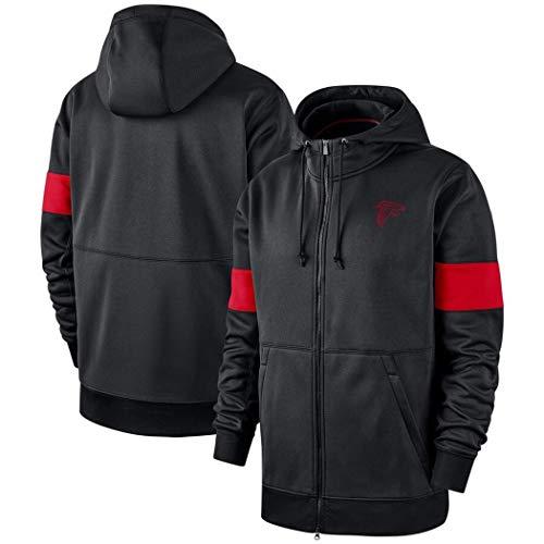 YUN-SWEATHIRTS Hoodie for Jacke Atlanta Falcons Männer Full Zip Kapuzenpulli Sweater American-Football-lose Fans Trikots (Color : Black, Size : S)