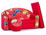Coco-Baby Sofá Foam Juguete Cama para niños + Puf/Reposapies y Almohada ((1SC) Red Small Cars)