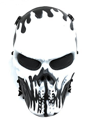 CS Schutzmaske Halloween Airsoft Paintball Full Face Skull Skeleton Maske (Schwarz/Weiß)
