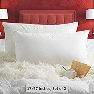 Jvin Fab Imported 7 Star Hotel Super Soft Top Class Number 1 Orthopedic Double Pocket Down on Top Layer White Goose Down and Feather 2 Pc Pillow (Chamber Pillow) (2 Pcs Pillows, 17 x 27 Inches)