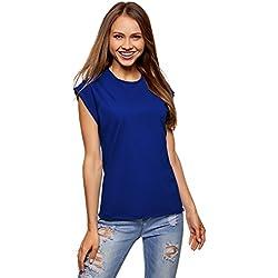 oodji Ultra Donna T-Shirt in Cotone Basic, Blu, IT 42 / EU 38 / S