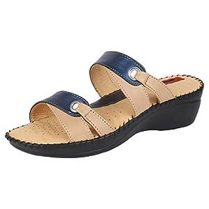 1 WALK DOCTOR SOLE ORTHOTPEDICS LEATHER CASUAL FOOTWEAR FOR WOMEN-BEIGE::BLUE