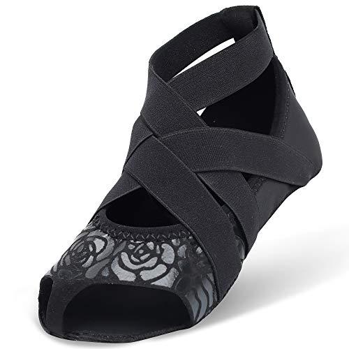 JOINFREE Frauen Yoga Gym Rutschfeste Massage Half Toe Grip Socken Rose Schwarz EU 39-40