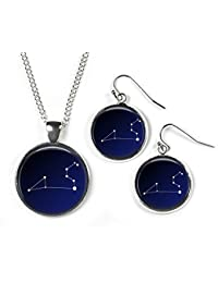 LEO Constellation Sky Zodiac - Set: Pendant, Chain & Earrings - Glass Picture Jewellery - Silver Plated …
