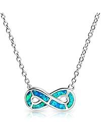 Bling Jewelry 925 Plata Azul sintético figura de un ocho, ópalo Infinito Collar 18a