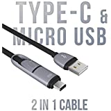 Lenovo S890 Compatible 2 In 1 USB Data Cable | Micro USB + Type C | Android Smartphone Charger Usb C Type Cable | Charging Cable | Data Transfer Cable By Jstbuy