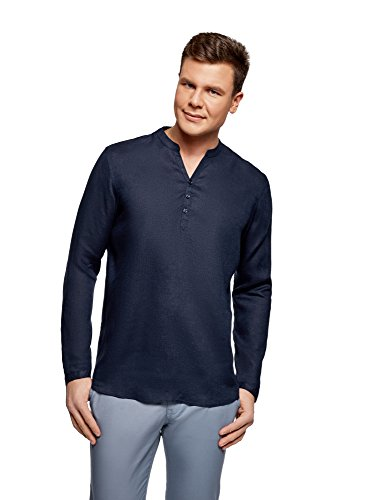 Oodji ultra uomo camicia in lino senza colletto, blu, 45.5cm/it 56-58/eu 58-60/xxl