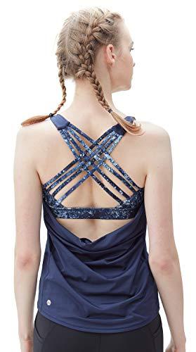 Criss Cross Rücken-unterstützung (QUEENIEKE Damen Yoga Sport Tank 2 in 1 Tank Top Criss-Cross Riemen Wilder Tank Farbe Königsblau Größe M)