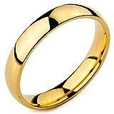 MeMeDIY 4mm Oro Dorado Tono Acero Inoxidable Banda Venda Anillo Ring Alianzas Boda Amor Love Talla Tamaño 9 - Grabado Personalizado